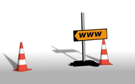redirection: redirection due maintenance, illustration for Internet site in maintenance, panel and insulated cones of building site, Stock Photo