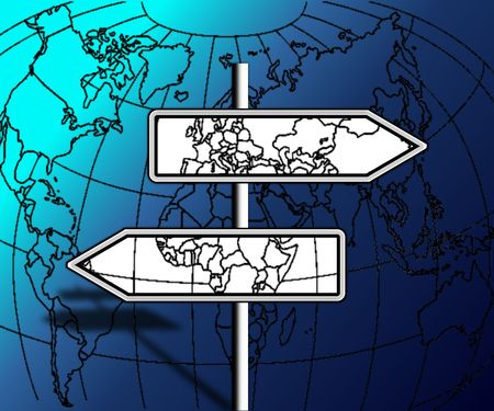 contradict: direction travels, but which continent to choose  Stock Photo