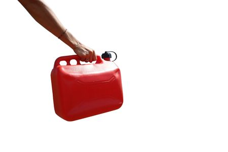 broken unity: gasoline breakdown, jerrycan of gasoline held by an arm of woman, routs on white zone symbolizes the gasoline breakdown, Stock Photo