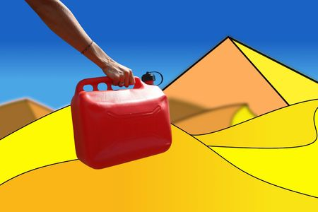 gasoline breakdown in full desert, jerrycan of gasoline held by an arm of woman, melts deserted stylizes, symbolizes the distress in a region arid,