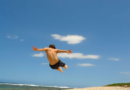 sympathetic:  jump on the beach, symbolizes freedom, the joy and happiness,