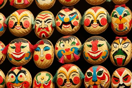 mask the different expression, vietnam Stock Photo