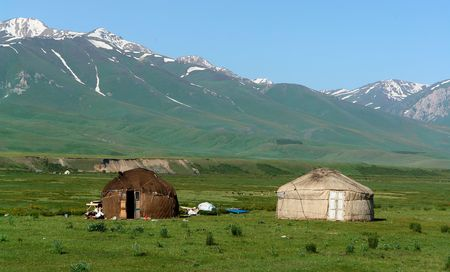 nomads: Yurts in Kyrgyzstan landscape Stock Photo