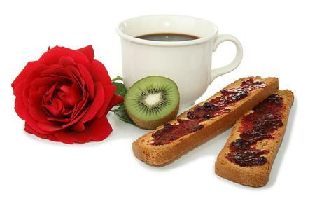 gentleness: french breakfast, coffee cup, bread, jam and fruit Stock Photo