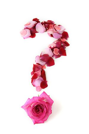 lost love: question mark in rose petals Stock Photo