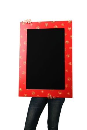 Casual woman holding a Blackboard photo