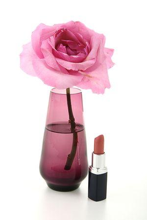 feminity: feminity, rose and lipstick Stock Photo