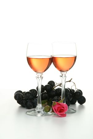 glasses of wine, isolated photo