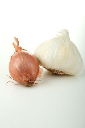 garlic and onion on white background photo
