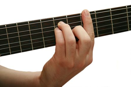 instrument cable: barefoot, guitar and hand on white background