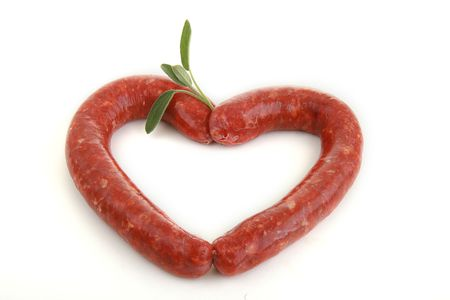sausage, heart, isolated on white background photo