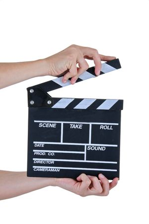 a movie production clapper board photo