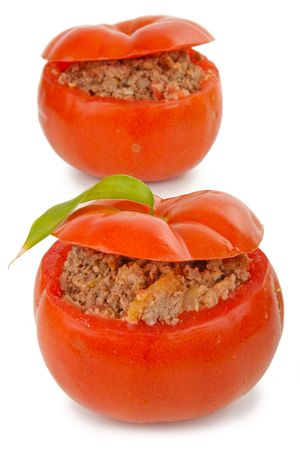 isolated stuffed tomatoes photo