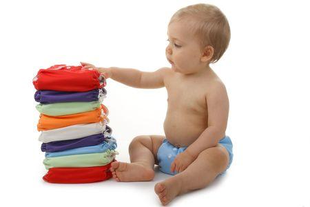 reusable: bambino e pannolini Archivio Fotografico