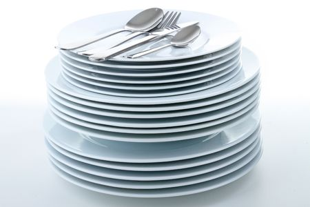 Stacks of Clean Dishes Stock Photo - 7832438