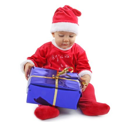 christmas baby wih present photo
