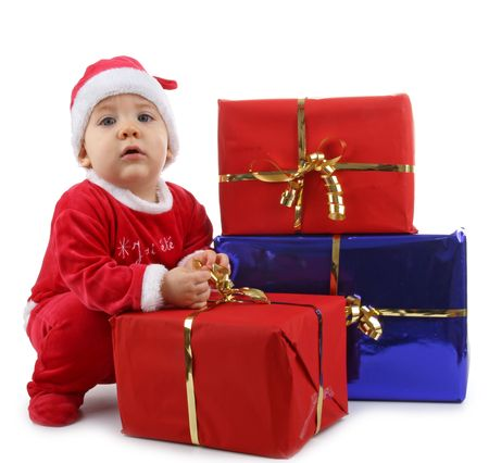 christmas baby with present photo