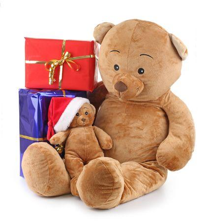 teddy bear christmas and gift Stock Photo - 7979129