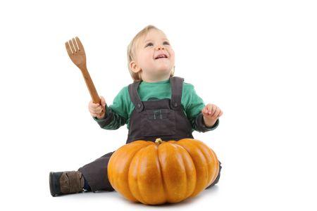 baby and pumpkin photo