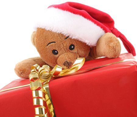 teddy bear and christmas gift Stock Photo - 8099053