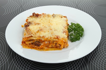 plate of lasagna Stock Photo