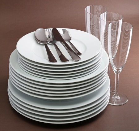 pile of plate, cutlery and glasses Stock Photo - 8340717