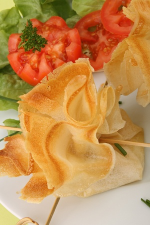 filo pastry: filo pastry, canape food and salad Stock Photo