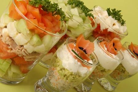 Verrines, légumes et saumon