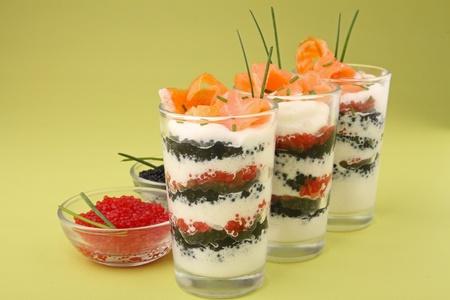 caterer: appetizer, verrine of salmon