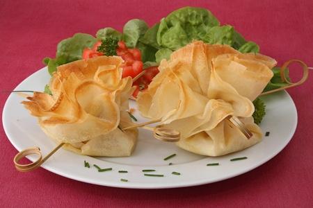filo: plate of filo and salad Stock Photo