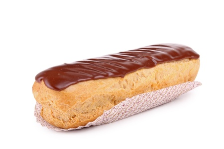 eclair: isolated chocolate eclair