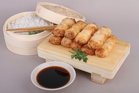 asia food, spring roll, sauce and rice Stock Photo - 8763201