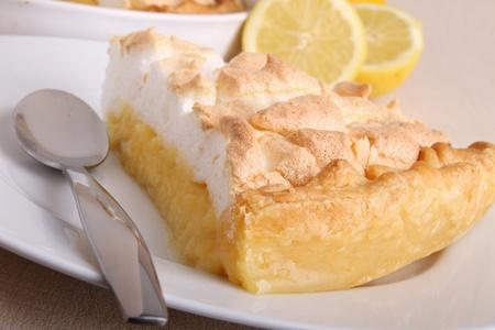 slice of lemon meringue tart photo