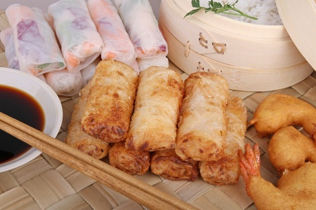 fritter: asia food, spring roll and fritter shrimp Stock Photo