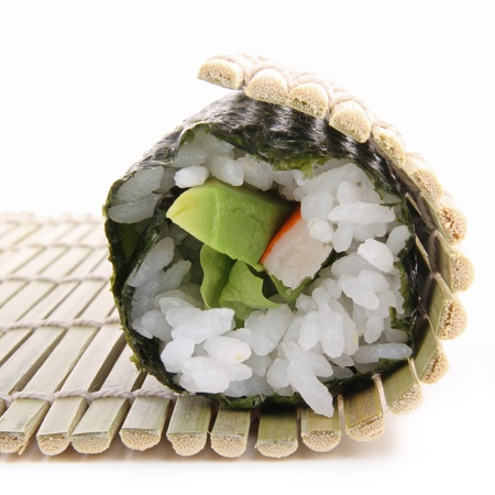 bamboo mat: sushi preparation  Stock Photo
