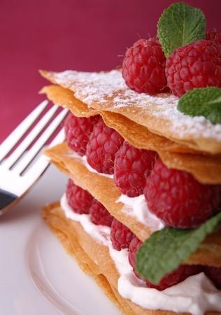 mille: raspberry mille feuille Stock Photo