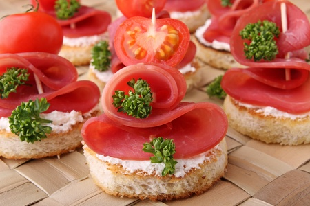 food buffet: toast, canapes buffet food Stock Photo