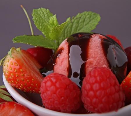 strawberry ice cream and fruits photo