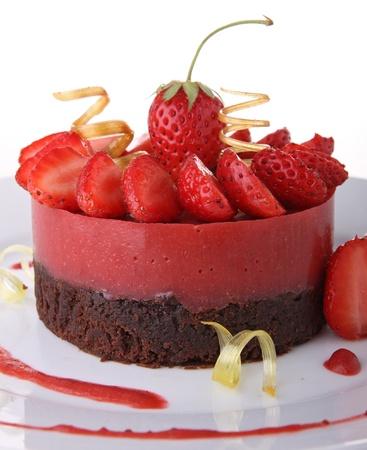 pastel de chocolate: Tarta de chocolate y fresa