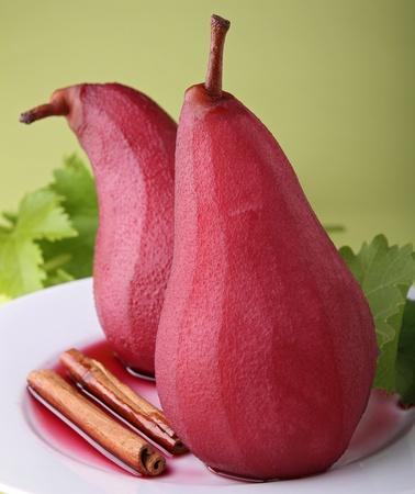 poached: poached pear with wine Stock Photo