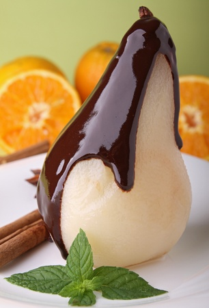 poached: poached pear with chocolate