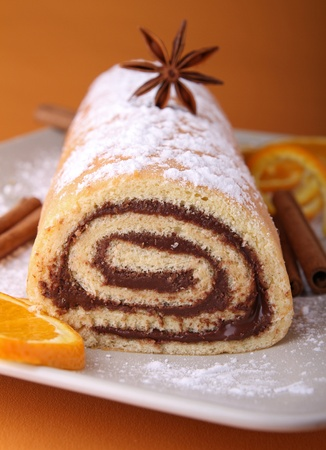 swiss roll: swiss roll with chocolate Stock Photo