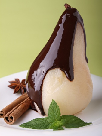 pears: poached pear with chocolate
