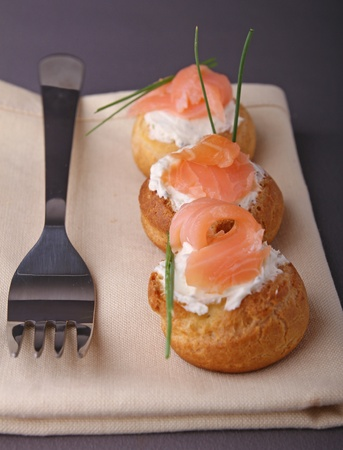 appetizer, choux with cheese and salmon photo