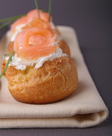 choux: choux with cheese and salmon
