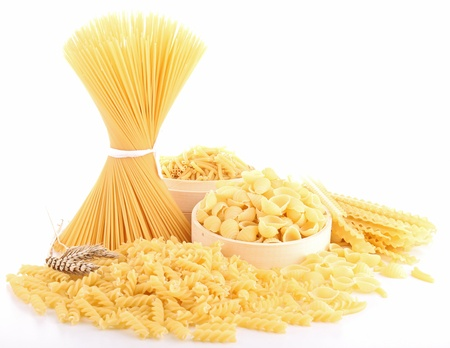 penne pasta: isolated heap of uncooked pasta