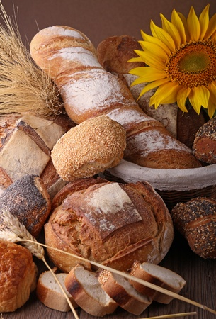 french bread: assorted of bread Stock Photo