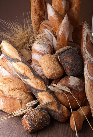 bakery products: heap of bread and wheat