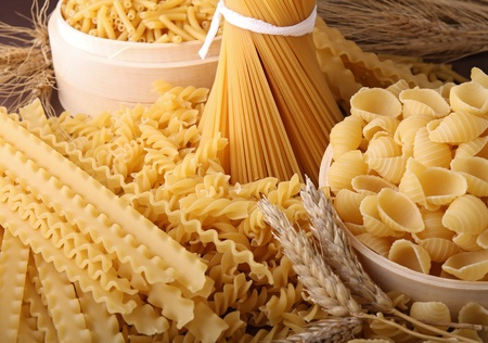 noodles: assortment of uncooked pasta Stock Photo