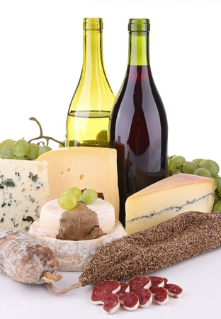 wine, cheese and sausage photo